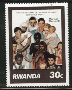 RWANDA Scott 1028 MNH** Norman Rockwell Art stamp 1981