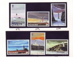 Isle of Man  Sc 666-71 1996 Lighthouse stamp set mint NH