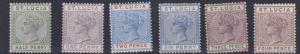 ST LUCIA  1891 - 98    S G 43 - 48  VARIOUS VALUES TO 4D MH