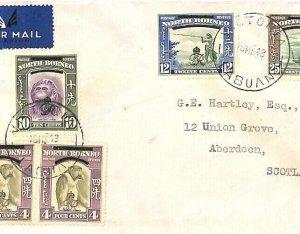 NORTH BORNEO Air Mail Cover LABUAN *Victoria* Overprints GB Scotland 1948 GV118