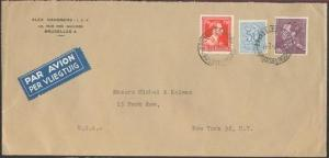 BELGIUM 1953 airmail cover to USA - nice franking inc. 10f.................81550