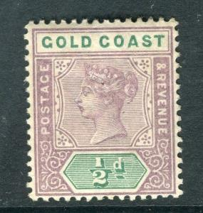 GOLD COAST; 1898 classic QV Crown CA issue Mint hinged 1/2d. value