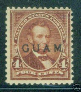 GUAM Scott 4 mint hinged 19th century OPT Lincoln stamp