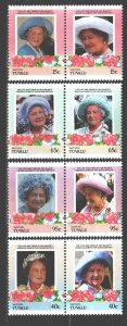 Tuvalu. 1985. 61-68. Queen Mother England. MNH.