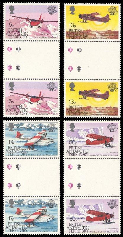 British Antarctic Territory 1983 Scott #117-120 Gutter Pairs Mint Never Hinged