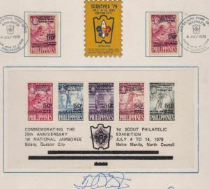 SCOUTPEX 79 QUEZON CITY  PHILIPPINES SIGNED  STAMPS SHEET SOUVENIR  REF 6499