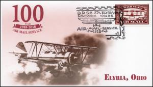 18-341, 2018, Air Mail, Pictorial Postmark, Event Cover, Elyria OH, 100 Years