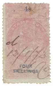 (I.B) New Zealand Revenue : Stamp Duty 4/-