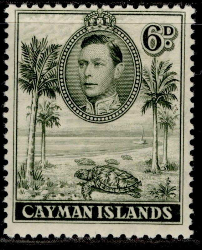 CAYMAN ISLANDS GVI SG122, 6d olive-green, M MINT. Cat £15.