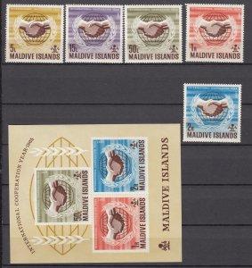 Z2301 1965 maldive islands set + s/s mnh #167-71a ICY emblem
