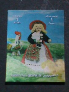 QIWAIN STAMP -COLORFUL LOVELY NATION DOLL AIRMAIL 3-D STAMP MNH #3