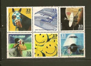 USA Technology 33 Cent Issue Se-tenant Block of 6 Used