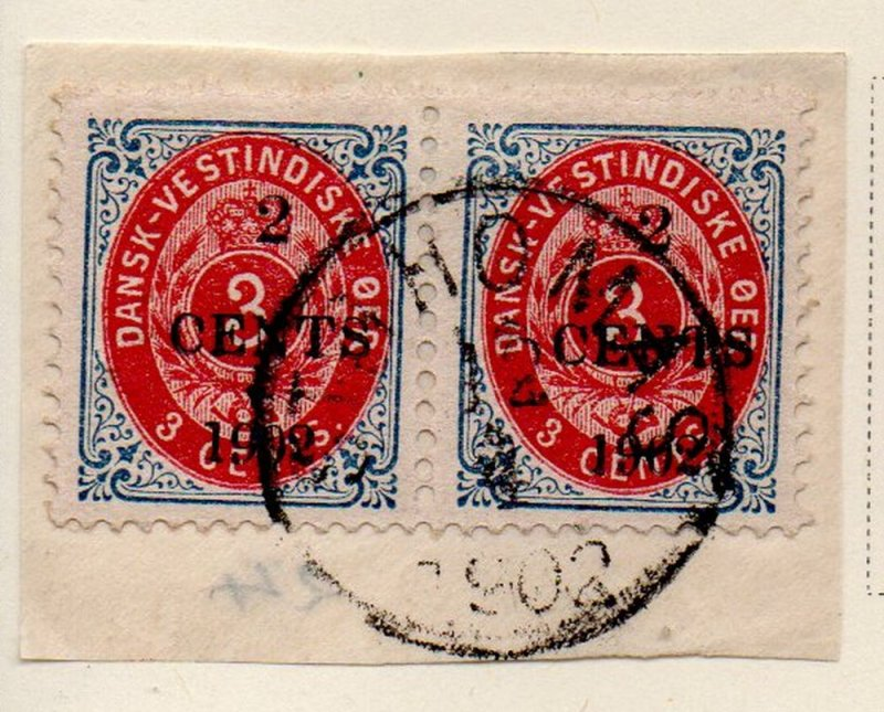 Danish West Indies Sc 24 1902 2c overprint on 3 c stamp pair on piece used