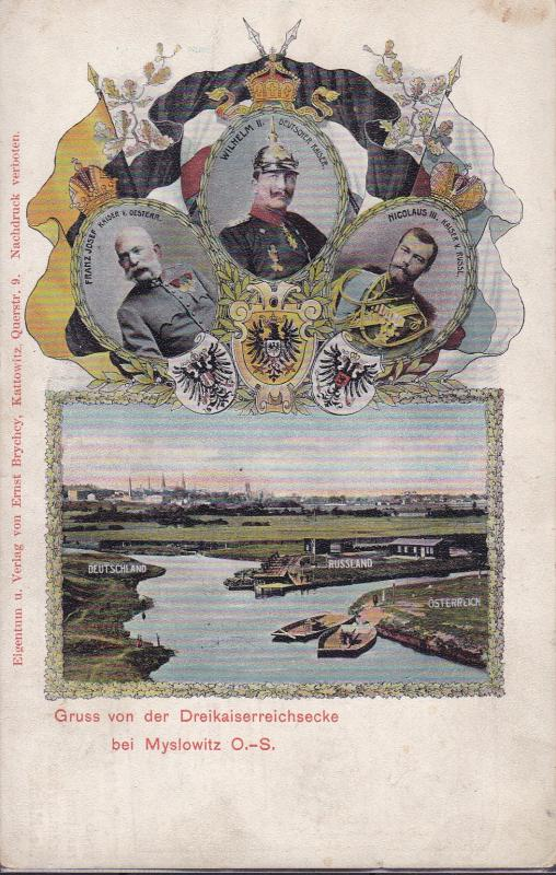 Germany c1910 Myslowitz Color View/Advertising Card. Three Countries Monarchs