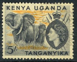 KENYA UGANDA TANGANYIKA 1954-59 QE2 5Shilling ELEPHANTS Pictorial Sc 115 VFU