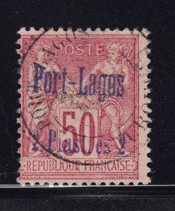 France - Port Lagos Scott # 5 F-VF used nice color scv $ 95  see pic !