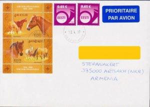 ESTONIA EESTI HORSE AIR MAIL COVER  TO ARTSAKH NAGORNO KARABAKH ARMENIA R17844