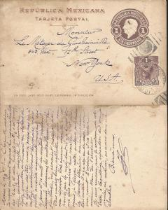 J) 1913 MEXICO, JOSEFA ORTIZ, 1 CENT BROWN, MEXICAN REPUBLIC, POSTAL STATIONARY,