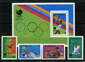 BARBUDA 1988 SUMMER OLYMPIC GAMES SEOUL SET OF 4 STAMPS & S/S  MNH