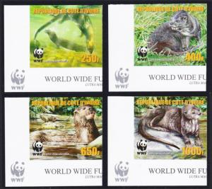 Ivory Coast WWF Speckle-throated Otter 4v Reprint Bottom Left Corners