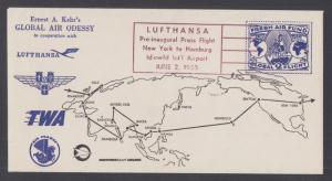 Lufthansa Press Flight, 1955 Fresh Air Fund Round-the-World Souvenir cover