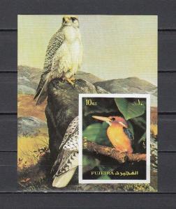 Fujeira, Mi cat. 1361, BL138 B. Kingfisher Bird s/sheet. *