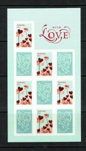 Australia: 2009, Greetings Stamps, 'With Love', self-adhesive sheetlet