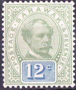 SARAWAK 1888 12 Cents Green & Blue SG16 MNH