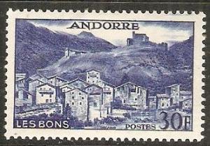 1955 Andorra-French Scott 136 Village of Les Bons MVLH