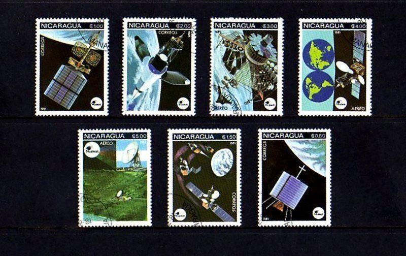 NICARAGUA - 1981 - SPACE - SATELLITES - COMMUNICATIONS - 7 X CTO NH SET!