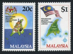 Malaysia 275-276,MNH.Michel 278-279. Labuan Federal Territory,1984.Map.