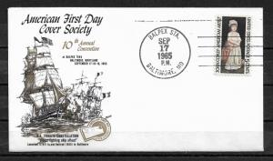 US 1965 FDC Gold Cachet Sailing Ships frigate USS Constellation,VF-XF !! (RN-4)