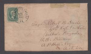 **CSA Cover, SC# 11, Charlottesville, VA, 11/27/1863, Turned Union Patriotic