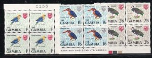 GAMBIA # 222-224 VF-MNH BLOCKS OF 4 BIRDS WITH CONTROL NUMBERS