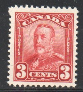 Canada Sc 151 1928 3c carmine George V stamp mint NH