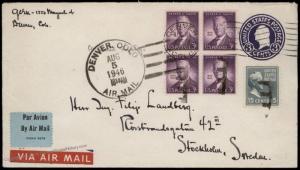 USA 1946 Denver to Stockholm Sweden 15c Prexie Transatlantic Airmail Cover 83734