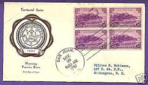 801  PUERTO RICO 3c BLK/4 1937 AT SAN JUAN, RICE FIRST DAY COVER.