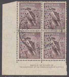 AUSTRALIA 6d Kookaburra imprint block of 4 used official perfin G/NSW.......2304