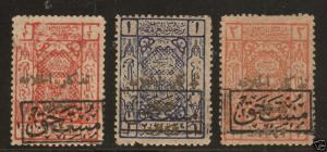 Saudi Arabia, Hejaz SG D57-D59 MOG. 1924 Hejaz Postage Dues, rare. Cert