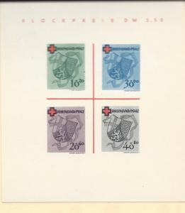 Germany (Rhein-Pfalz), 6NB6a, Coat ot Arms Sheet(4) **MNH**