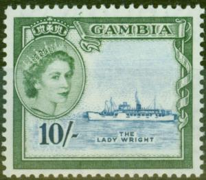 Gambia 1953 10s Dp Blue & Myrtle-Green SG184 V.F MNH