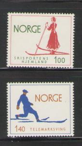 Norway Sc 647-8 1975 Skiing stamps mint NH