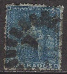 Barbados; 1861: Sc. # 16; O/Used Single Stamp