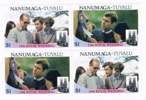 Tuvalu Nanumaga 72a-b Pair MNH Blk 4 Royal Wedding 1986 (T0020)