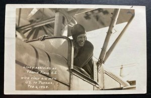 1929 Cristobal Canal Zone Panama RPPC Postcard cover To Usa Lindbergh Signed