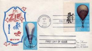 United States, First Day Cover, Balloons