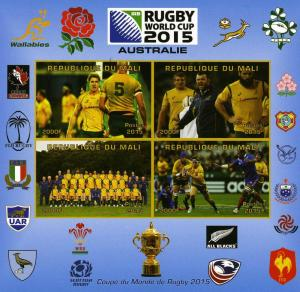 Rugby World Cup 2015 AUSTRALIA Team Deluxe Ungummed mnh.vf