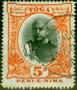Tonga 1895 5d Black & Orange SG46 Fine Used