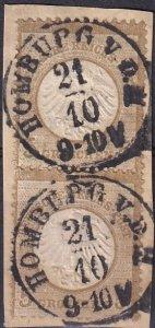 Germany #6 F-VF Used Pair On Piece CV $170.00  (Z2844)