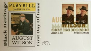 AFDCS 5555A August Wilson Imperforated Pair Digital Color Postmark